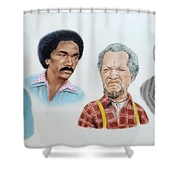 The Cast Of Sanford And Son  Shower Curtain by Jim Fitzpatrick