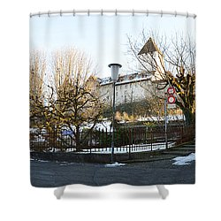 Shower Curtain featuring the photograph The Castle In Winter Light by Felicia Tica