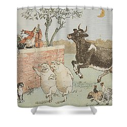 The Cat And The Fiddle Shower Curtain by Randolph Caldecott