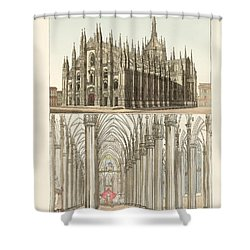 The Cathedral Of Milan Shower Curtain by Splendid Art Prints