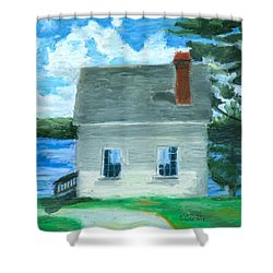 The Caulker's Shed Shower Curtain by Dominic White
