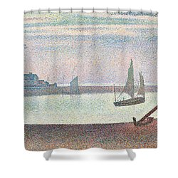 The Channel At Gravelines In The Evening Shower Curtain by Georges Seurat