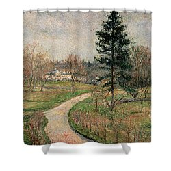 The Chateau At Busagny Shower Curtain by Camille Pissarro