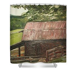 Shower Curtain featuring the painting The Cherrys Barn by Jan Dappen