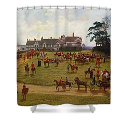 The Cheshire Hunt    The Meet At Calveley Hall  Shower Curtain by George Goodwin Kilburne