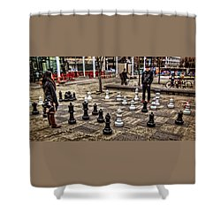 The Chess Match In Pdx Shower Curtain