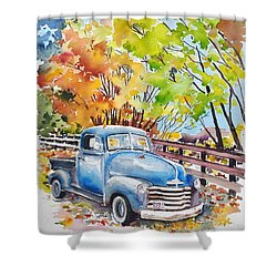 The Old Chevy In Autumn Shower Curtain
