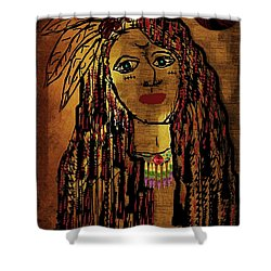 The Cheyenne Indian Warrior Brave Wolf Pop Art Shower Curtain by Pepita Selles