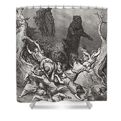 The Children Destroyed By Bears Shower Curtain by Gustave Dore