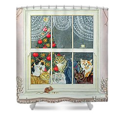 The Christmas Mouse Shower Curtain by Ditz
