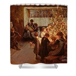 The Christmas Tree Shower Curtain by Albert Chevallier Tayler