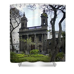 The Church Green Shower Curtain by Lynn Palmer