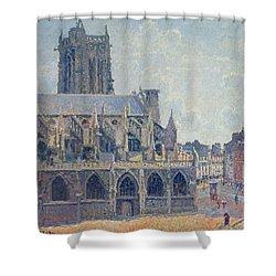 The Church Of St Jacques In Dieppe Shower Curtain by Camille Pissarro