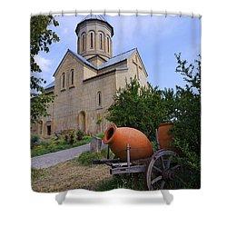 The Church Of St Nicolas Inside The Narikala Fortress Tbilisi Shower Curtain by Robert Preston