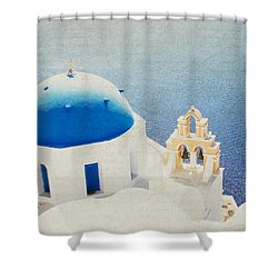 Shower Curtain featuring the photograph The Church - Santorini by Lisa Parrish