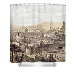 The City Of Ephesus From Mount Coressus Shower Curtain by Edward Falkener