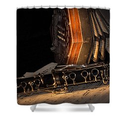 The Clarinet And The Concertina Shower Curtain by Ann Garrett