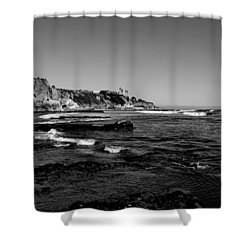 The Cliffs Of Pismo Beach Bw Shower Curtain