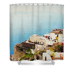 The Cliffside - Santorini Shower Curtain by Lisa Parrish