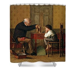 The Clock Doctor, 1871 Shower Curtain by Enoch Wood Perry