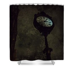The Clock Of Greenpoint Shower Curtain by Natasha Marco