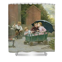 The Coach Ride Shower Curtain by Charles Bertrand DEntraygues