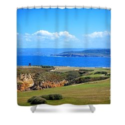 The Coast Of La Coruna Shower Curtain by Mary Machare