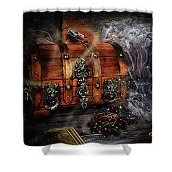 The Coffer Of Spells Shower Curtain by Alessandro Della Pietra