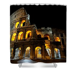 The Colosseum At Night Shower Curtain by Jeremy Voisey