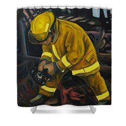 The Compulsion Towards Heroism Shower Curtain by John Malone