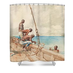 The Conch Divers Shower Curtain by Winslow Homer