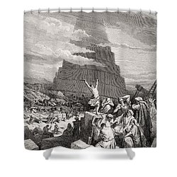 The Confusion Of Tongues Shower Curtain by Gustave Dore