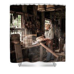 Shower Curtain featuring the photograph The Cooper - 19th Century Artisan In His Workshop  by Gary Heller