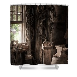 Shower Curtain featuring the photograph The Coopers Window - A Glimpse Into The Artisans Workshop by Gary Heller