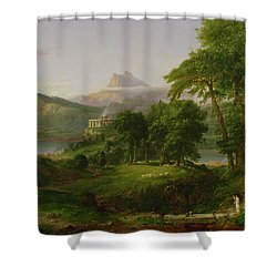 The Course Of Empire   The Arcadian Or Pastoral State Shower Curtain by Thomas Cole