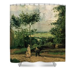 The Courtyard At Louveciennes Shower Curtain by Camille Pissarro