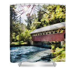 The Covered Bridge At The Red Mill Shower Curtain