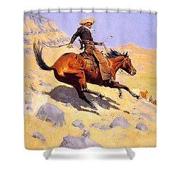 The Cowboy Shower Curtain by Fredrick Remington