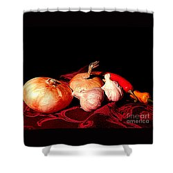 New Orleans Onions, Garlic, Red Chili Pepper Used In Creole Cooking A Still Life Shower Curtain