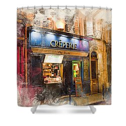 The Creperie Shower Curtain by Evie Carrier