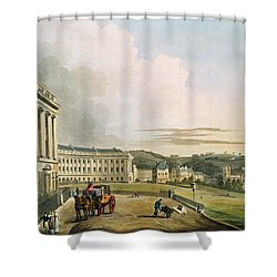 The Crescent, From Bath Illustrated Shower Curtain by John Claude Nattes