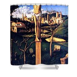 The Crucifixion 1503 Giovanni Bellini Shower Curtain by Karon Melillo DeVega
