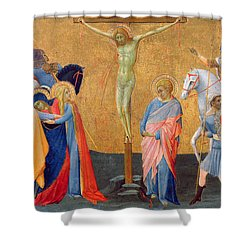 The Crucifixion Shower Curtain by Master of the Madonna of San Pietro of Ovila