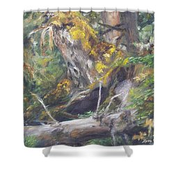 Shower Curtain featuring the painting The Crying Log by Lori Brackett