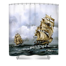 The Cutty Sark And The Red Clipper Shower Curtain