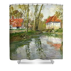 The Dairy At Quimperle Shower Curtain by Fritz Thaulow