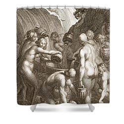 The Danaids Condemned To Fill Bored Shower Curtain by Bernard Picart
