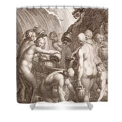 The Danaids Condemned To Fill Bored Vessels With Water Shower Curtain by Bernard Picart