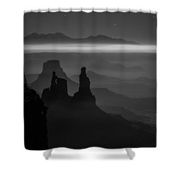 The Dark Side Of The Moon Shower Curtain by Dustin  LeFevre