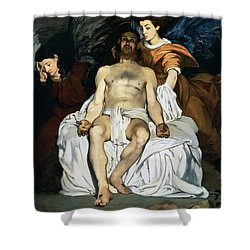 The Dead Christ And Angels Shower Curtain by Edouard Manet